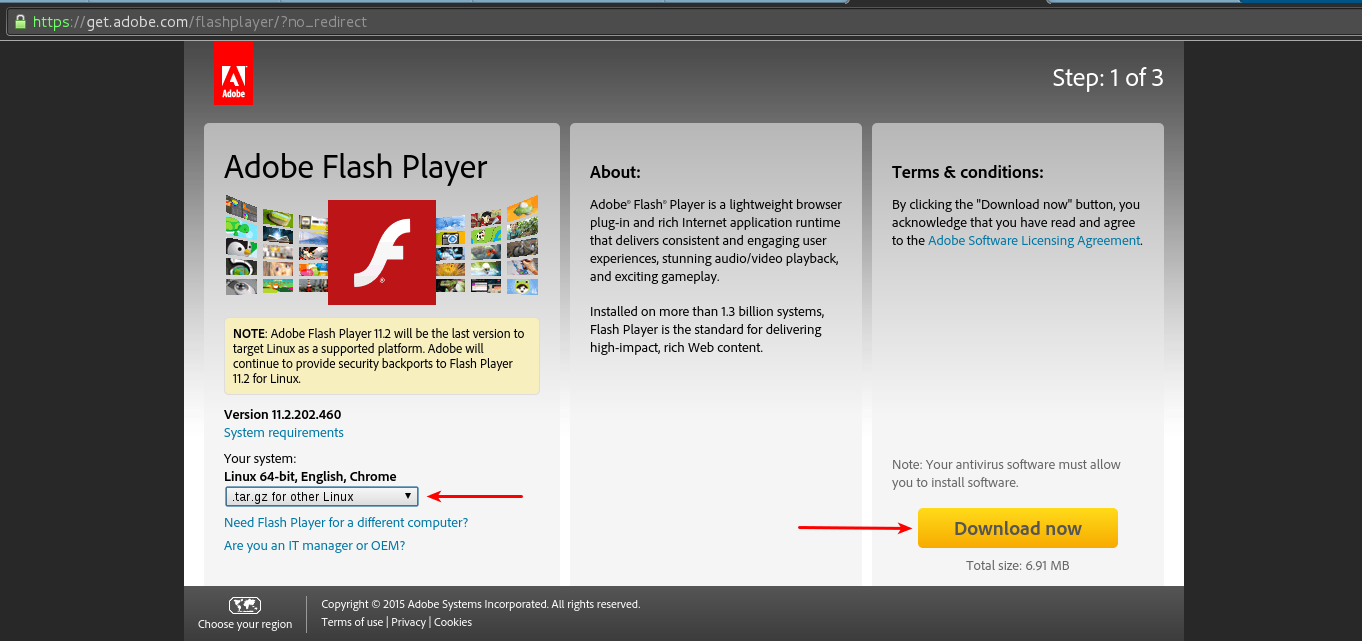 How to install Adobe Flash Player in Debian/Kali Linux
